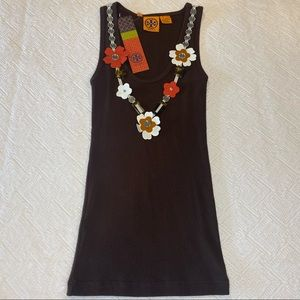 Tory Burch | Brown Tank with Floral Accent NWT